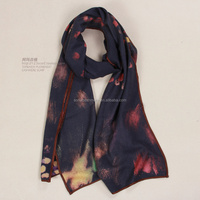 hand painted black lady cashmere scarf