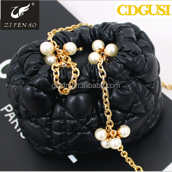2015 Stock promotion cheap PU leather pearl shoulder bags