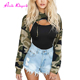 Fast Shipping Camouflage short Off Chest Crop Tops Womens Long Sleeve Blouses