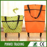 folding wheeled vegetable rolling shopping trolley cart bag for shopping trolley