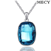 MECY LIFE high end rectangle shaped imported Austria blue stone necklace