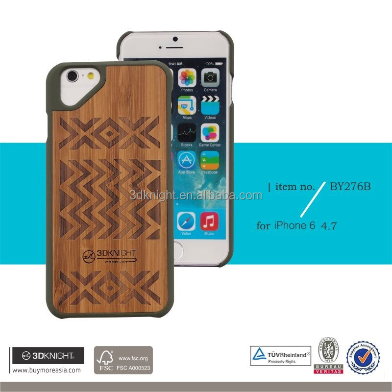 Fashion real wood phone case for iphone6 ,2d sublimation carve phone case for i6
