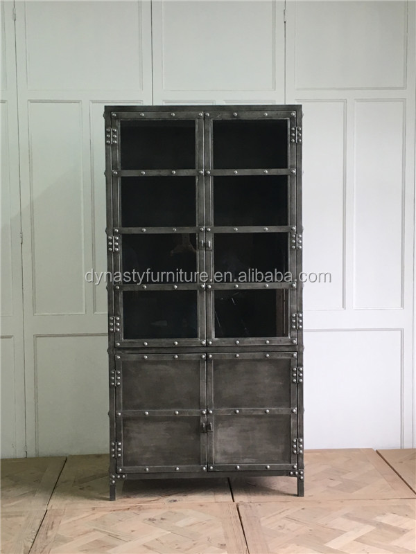 industrial reproduction antiques china display glass cabinets