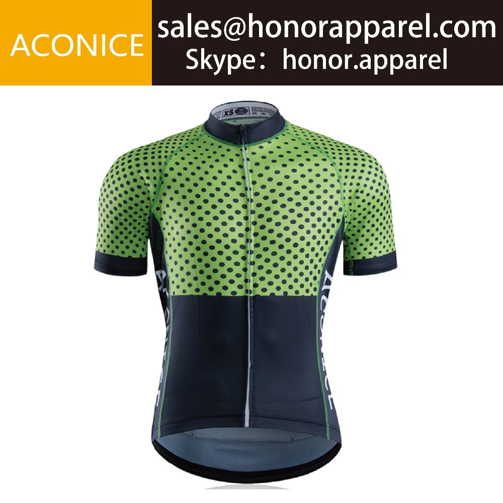 Short Sleeve Main Green Black Dot Simple Pattern Cycling Shirts Custom Bike Race Jersey