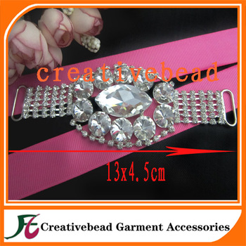 crystal glass silver metal jewelry rhinestone connector for bikini decoration wholesale