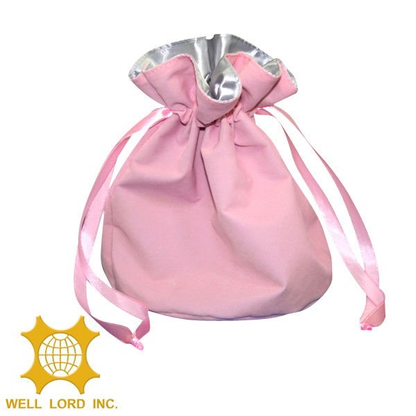 Hot selling pink small portable cheap wedding gift drawstring bag