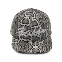 Mens flat brim leather 6 panel caps Leather strap back leopard snapback hats for sale