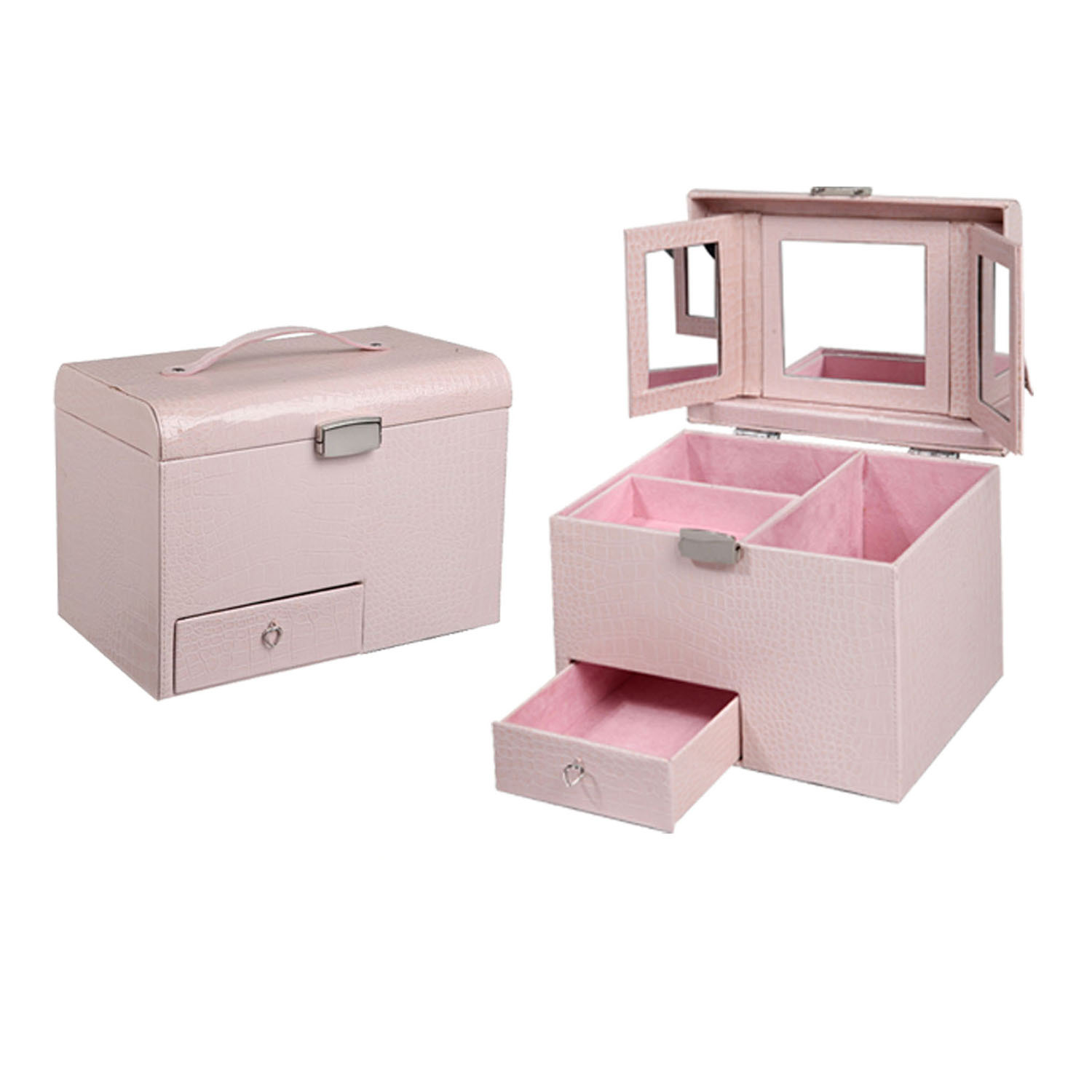 Pink round shaped three transferable box  jewelry box with metal fittings