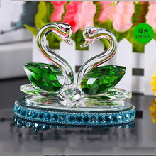 Cheap Wedding Favors gift clear glass Swans Figurines Crystal Swan for lady gift