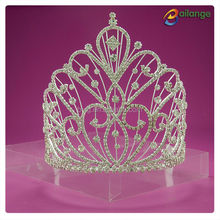 Bailange Headwear fancy rhinestone silver color full pageant round crowns