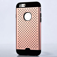 Metal TPU Hybrid Dot Hole Back Cover Case For iPhone 6 6s