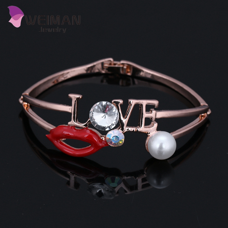 Fashion high quality rose gold plated wholesale love mouth bangle