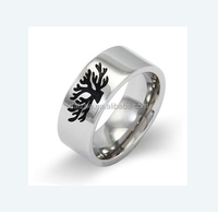 Fashion 925 sterling silver wide band ring with tree of life engraved black enamel women fashion ring