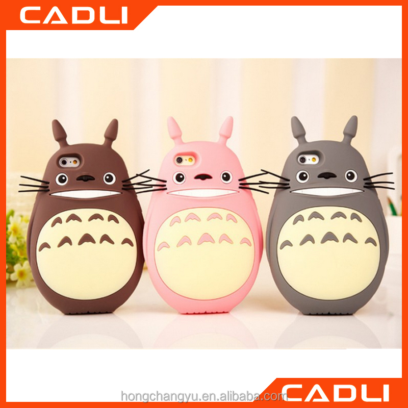 Hot Selling Case for Iphone 6 6s 4.7' 3D Lovely Cartoon Totoro Soft Silicone Rubber Cover Case
