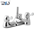 Solid Brass Modern Bathroom Chrome Plated Dual Lever Bath Shower Mixer Deck Mounted