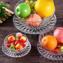 2pcs glass bowl with saucer,decoration glass fruit bowls food glassware