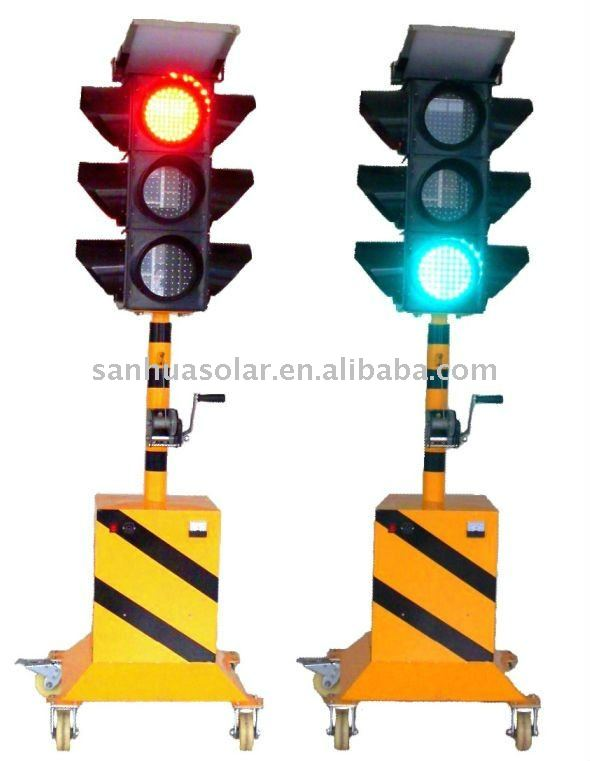 LED solar flashing traffic light/sign