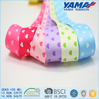 Fashion girl hair band decoration heart pattern printed grosgrain ribbon spool