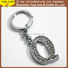 "2017 hot selling Crystal Initial Letter ""Q"" Metal Keychain Key Ring"
