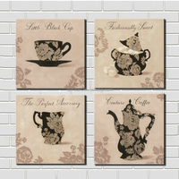 Framed Canvas Painting Wall Art 4 Piece Abstract Coffee Cup Accessory Kitchen Cafe Shop Wall Decoration
