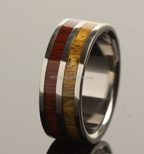 2015 Hot Sale Rings Jewelry Mens 8mm Black Tungsten Double Row Wood Ring