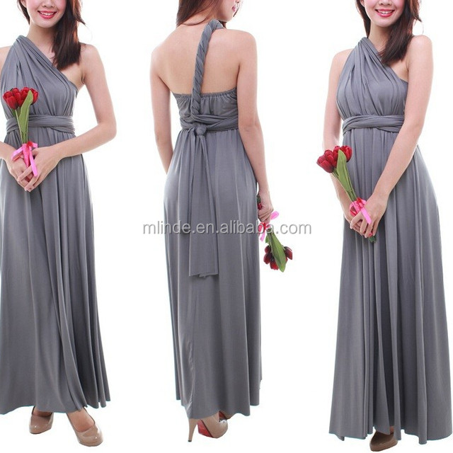 women fashion maxi Convertible bridesmaid dress in gray color