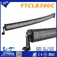 Y&T Excellent quality high brightness curved led flood light projector lamp 3D Len 300w curved led Light Bar for offroad