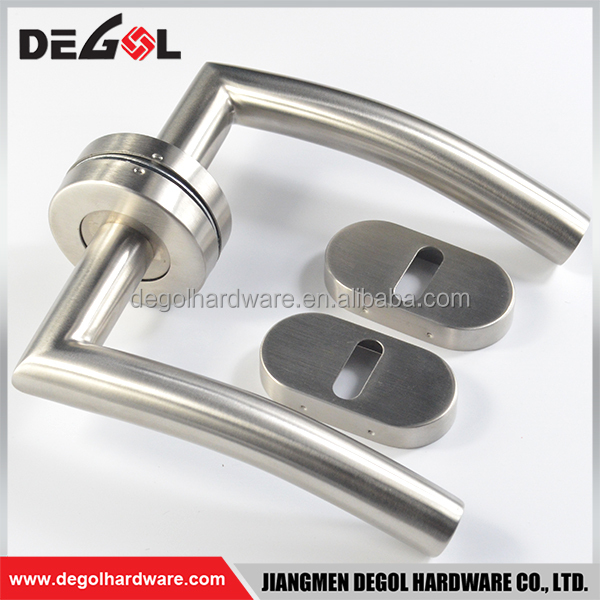 Stainless steel lever tube door handle hardware in dubai with oval escutcheon