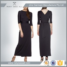 OEM boatneck or v neck, half sleeve, fitting gown dress Made from a luxurious jersey blend knit