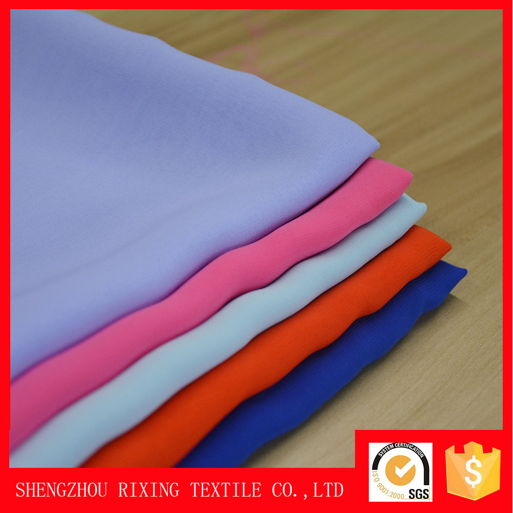 Factory whoelsale polyester woven plain velvet fabrics chiffon for chiffon maxi dresses