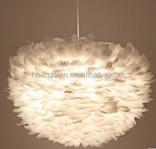 Modern creative LED pendant lamp white feather indoor led lighting