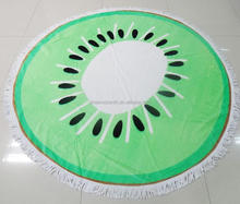 Kiwi Fruit Printed Round Beach Towels , Round Towel Beach, 150cm, 450gsm. reactive print. Wholesale price!