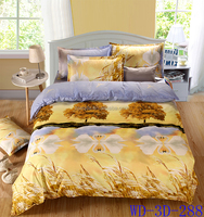 swan couple in the lake in the yellow color bed linens from China