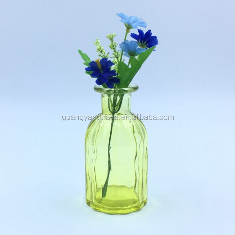 Decoration 500ml Blue yellow clear purple colorful glass flower vase with lid