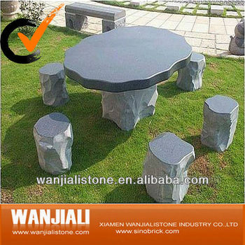 Black Garden Stone Table