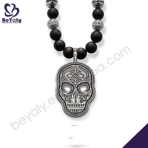 Black beads skull silver Choker Chunky Collar Necklace