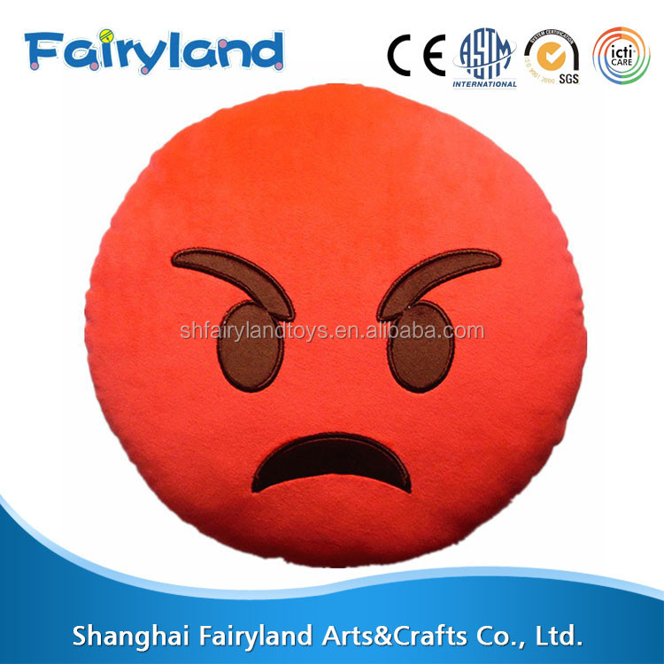 32cm Emoji Smiley Red Round Cushion Pillow Plush Stuffed Toy