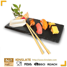 Wholesale customized shape natural black sushi slate plate for restaurant