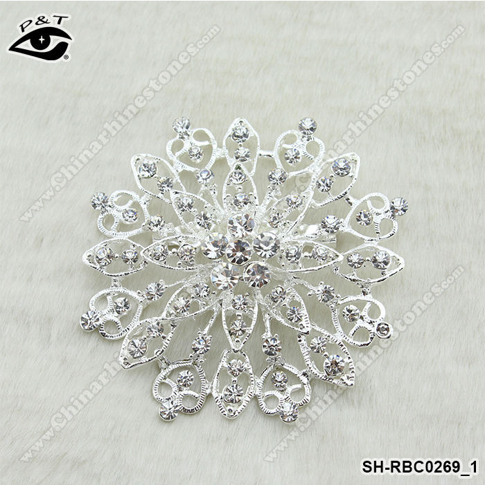 Big size snowflake rhinestone wedding brooch for wholesale