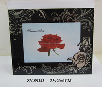 7x5 rectangle flower glitter glass photo frame, picture frame, souvenir photo frame