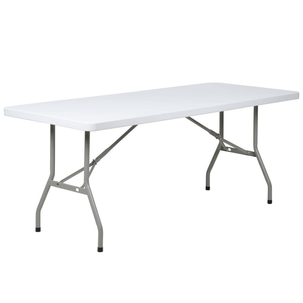 "NF-C180 6' Rectangular Table 30"" x 72"" Heavy Duty White Granite Plastic Folding Table"