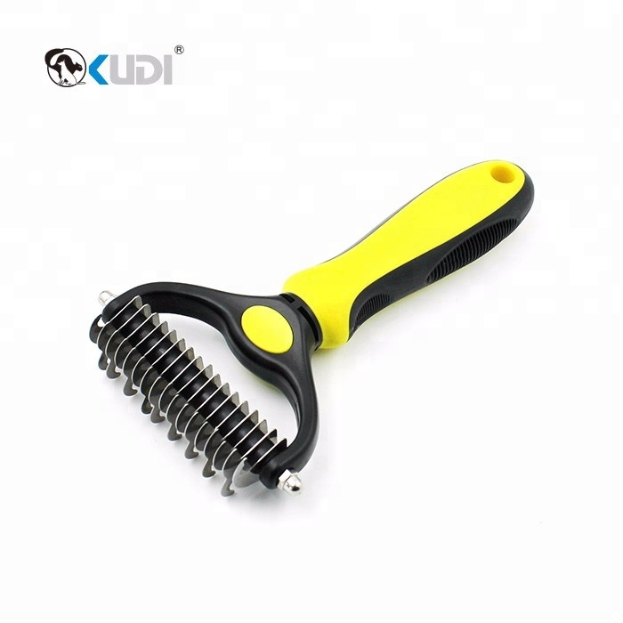 Dog Deshedding Brush Dog Dematting Comb For Undercoat <strong>Removal</strong>