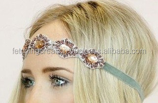 beaded with stone embroided style headband hair band head piece hair tie
