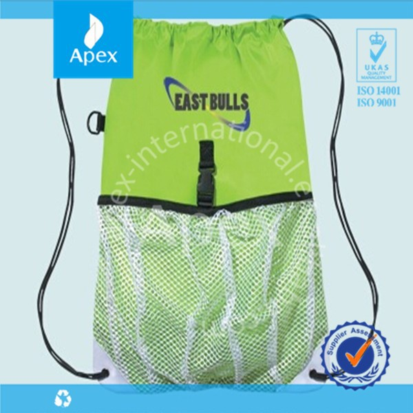 sports drawstring nylon mesh bag