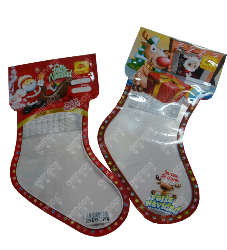 christmas candy packaging bag with sock shape