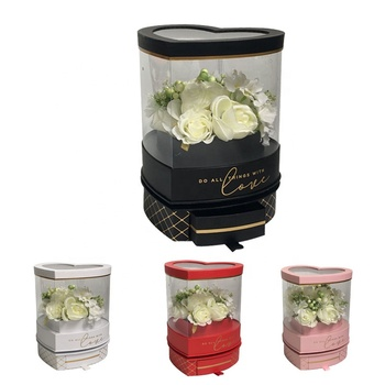 New arrival Rotating heart shaped pvc transparent flower paper rose gift packaging box