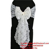 hot sale organza sashes wedding bow chair lace sashes fancy cheap sashes