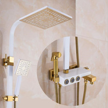 new style luxury wall mounted rain shower set and column with hand held bidet sprayer