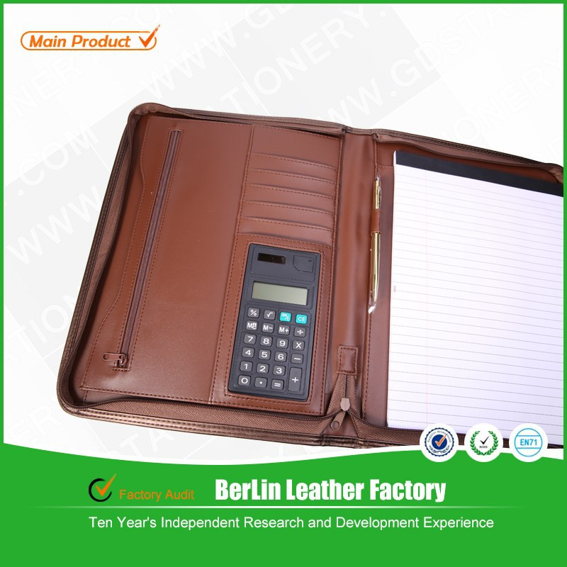 Office stationery hot sale custom personal portfolio organizer with calculator and pen
