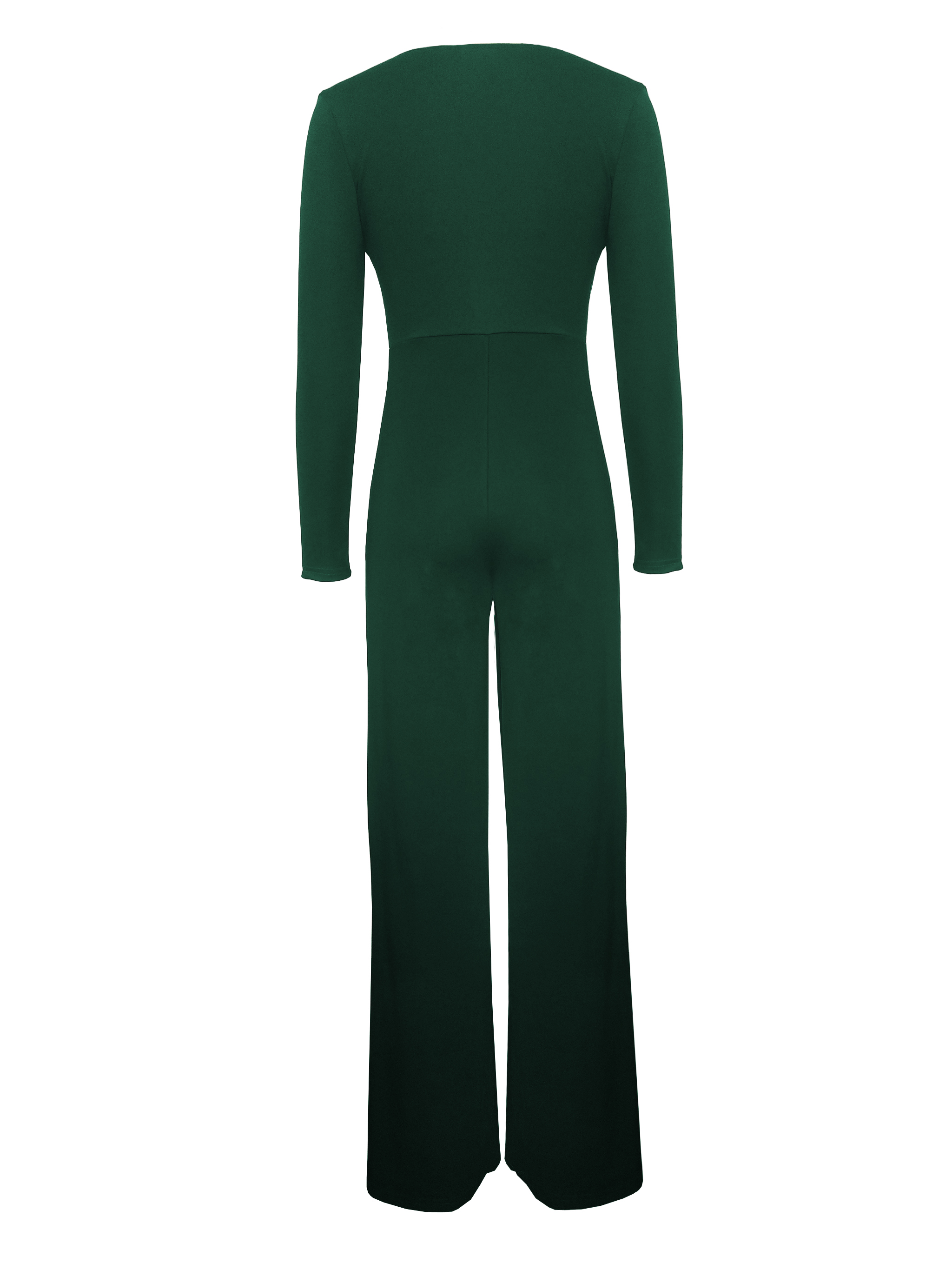 2019 Women Sexy Deep V-Neck Long Sleeves Bodycon Pants Solid Color Party Onesie Jumpsuits